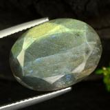 thumb image of 11.4ct Oval Facet Gray Blue Sheen Labradorite (ID: 473107)