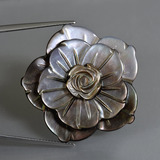 thumb image of 44.2ct Carved Flower Silver Mother of Pearl (ID: 407611)