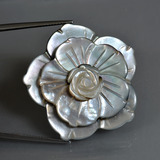 thumb image of 47.1ct Carved Flower Silver Mother of Pearl (ID: 407612)