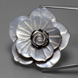thumb image of 51.2ct Carved Flower Silver Mother of Pearl (ID: 418031)