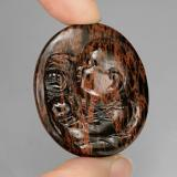 thumb image of 66.2ct Oval Carved Cameo Mahogany Obsidian (ID: 240634)