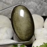 thumb image of 40.4ct Oval Cabochon Gold Sheen Obsidian (ID: 391486)