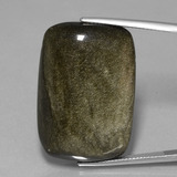 thumb image of 46.9ct Cushion Cabochon Black Gold Sheen Obsidian (ID: 433881)