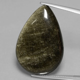 thumb image of 35.5ct Pear Cabochon Gold Sheen Obsidian (ID: 433964)
