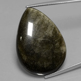 thumb image of 37.8ct Pear Cabochon Gold Sheen Obsidian (ID: 433966)