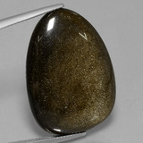 thumb image of 29.3ct Fancy Cabochon Gold Sheen Obsidian (ID: 434046)