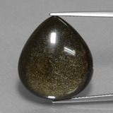 thumb image of 14.3ct Pear Cabochon Gold Sheen Obsidian (ID: 434914)