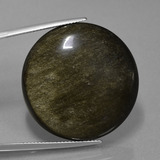 thumb image of 47.2ct Round Cabochon Black Gold Sheen Obsidian (ID: 435206)