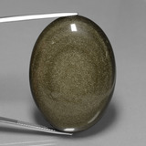 thumb image of 78.3ct Oval Cabochon Gold Sheen Obsidian (ID: 447908)