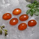 0.53 ct Oval Cabochon Deep Reddish Orange Opal Gem 6.98 mm x 5.1 mm (Photo C)