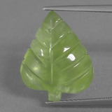 thumb image of 9.9ct Carved Leaf Green Prehnite (ID: 455831)