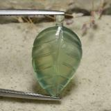 thumb image of 13.7ct Carved Leaf Cabochon Green Prehnite (ID: 479509)