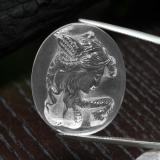 thumb image of 48.5ct Carved Cameo White Quartz (ID: 297175)