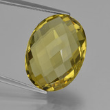 thumb image of 16.8ct Oval Checkerboard (double sided) Lemon Quartz (ID: 417285)