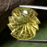 thumb image of 20.4ct Carved Leaf Medium-Light Yellow Quartz (ID: 470103)