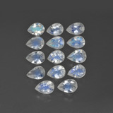 thumb image of 3ct Pear Facet Blue White Rainbow Moonstone (ID: 409606)