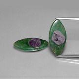 thumb image of 9.8ct Marquise Slice Bi-Color Ruby in Fuchsite (ID: 385551)