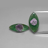 thumb image of 9.7ct Marquise Slice Bi-Color Ruby in Fuchsite (ID: 385552)