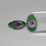 thumb image of 10.8ct Marquise Slice Bi-Color Ruby in Fuchsite (ID: 385553)