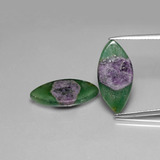 thumb image of 10.2ct Marquise Slice Bi-Color Ruby in Fuchsite (ID: 385555)