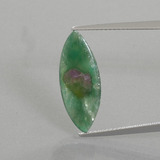 thumb image of 3.3ct Marquise Slice Bi-Color Ruby in Fuchsite (ID: 386503)