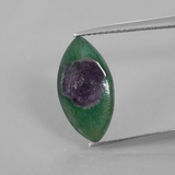 thumb image of 3.6ct Marquise Slice Bi-Color Ruby in Fuchsite (ID: 386749)