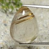 thumb image of 10.7ct Pear Cabochon Colorless Golden Rutile Quartz (ID: 307397)