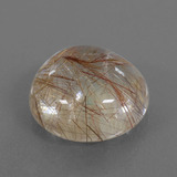 17.99 ct Rund Cabochon Very Light Brown Rutilquarz Edelstein 17.23 mm  (Photo B)