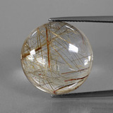 thumb image of 24.5ct Round Cabochon Colorless Golden Rutile Quartz (ID: 395603)