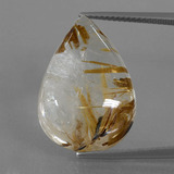 thumb image of 24.3ct Pear Cabochon Colorless Golden Rutile Quartz (ID: 402308)