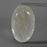 thumb image of 16.5ct Oval Cabochon Colorless Golden Rutile Quartz (ID: 402346)