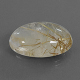 18.47 ct كابوشون بيضاوى Very Light Golden-Brown كوارتز روتيل حجر كريم 21.67 mm x 14.5 mm (صورة B)