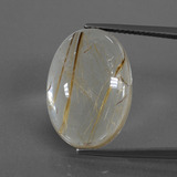 thumb image of 14.2ct Oval Cabochon Very Light Golden-Brown Rutile Quartz (ID: 402350)