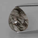 thumb image of 6.2ct Pear Cabochon Colorless Black Rutile Quartz (ID: 403153)