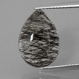 thumb image of 5.6ct Pear Cabochon Colorless Black Rutile Quartz (ID: 403297)