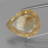 9.90 ct Poire facette Light Gold Quartz Rutile gemme 18.60 mm x 15 mm (Photo B)