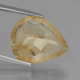 9.90 ct Poire facette Light Gold Quartz Rutile gemme 18.60 mm x 15 mm (Photo C)