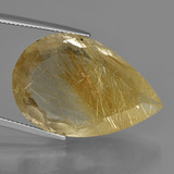 thumb image of 31.4ct Pear Facet Colorless Golden Rutile Quartz (ID: 403671)