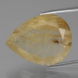 thumb image of 11.2ct Pear Facet Colorless Golden Rutile Quartz (ID: 404346)