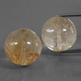 thumb image of 49.3ct Drilled Sphere Colorless Golden Rutile Quartz (ID: 423033)