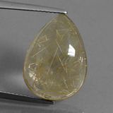 thumb image of 10.1ct Pear Cabochon Colorless Golden Rutile Quartz (ID: 435568)