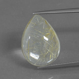 thumb image of 10.3ct Pear Cabochon Colorless Golden Rutile Quartz (ID: 435887)