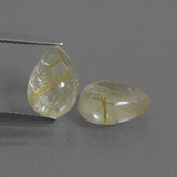 thumb image of 4.3ct Pear Cabochon Colorless Golden Rutile Quartz (ID: 436167)