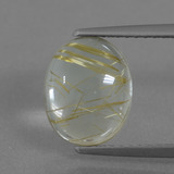 thumb image of 2.5ct Oval Cabochon Colorless Golden Rutile Quartz (ID: 436379)