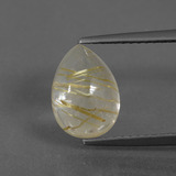 thumb image of 3ct Pear Cabochon Colorless Golden Rutile Quartz (ID: 436554)