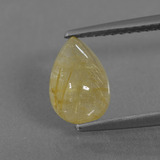 thumb image of 1.6ct Pear Cabochon Colorless Golden Rutile Quartz (ID: 436720)