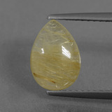 thumb image of 1.6ct Pear Cabochon Colorless Golden Rutile Quartz (ID: 436741)