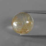 thumb image of 5.5ct Round Cabochon Colorless Golden Rutile Quartz (ID: 443403)