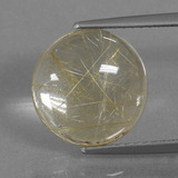 thumb image of 4.2ct Round Cabochon Colorless Golden Rutile Quartz (ID: 443450)
