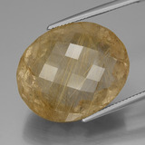 thumb image of 51ct Oval Checkerboard Colorless Golden Rutile Quartz (ID: 443470)